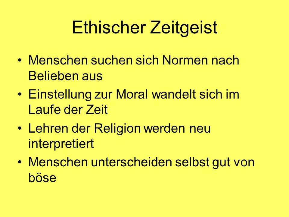 Ethischer Zeitgeist Menschen suchen sich Normen nach Belieben aus Einstellung zur Moral wandelt sich im Laufe der Zeit Lehren der Religion werden neu