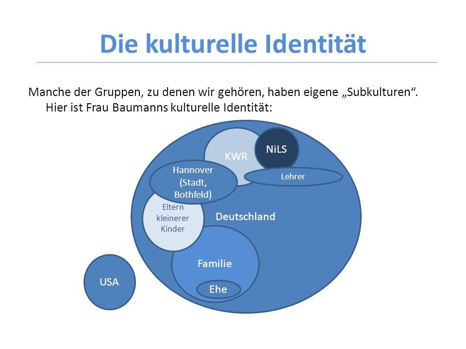 Die kulturelle Identität Manche der Gruppen, zu denen wir gehören, haben eigene Subkulturen. Hier ist Frau Baumanns kulturelle Identität: Deutschland