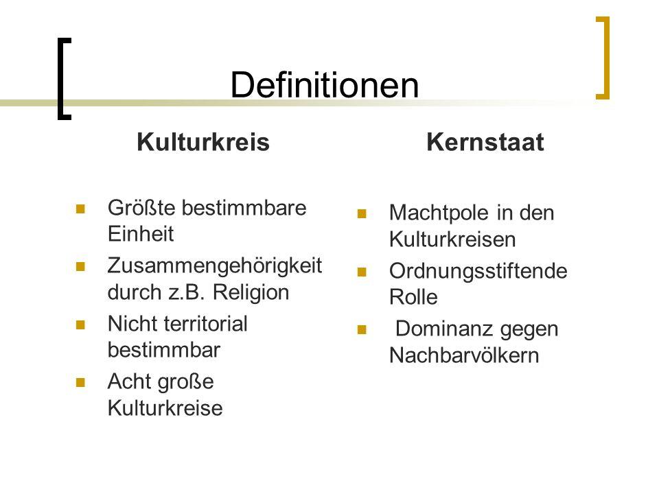 Definitionen Kulturkreis Größte bestimmbare Einheit Zusammengehörigkeit durch z.B. Religion Nicht territorial bestimmbar Acht große Kulturkreise Kerns