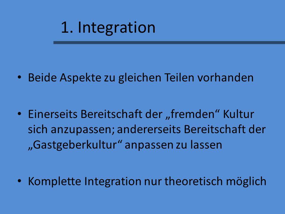 1. Integration Beide Aspekte zu gleichen Teilen vorhanden Einerseits Bereitschaft der fremden Kultur sich anzupassen; andererseits Bereitschaft der Ga