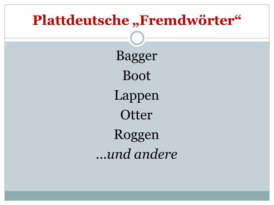 Plattdeutsche Fremdwörter Bagger Boot Lappen Otter Roggen...und andere
