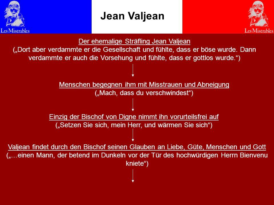 Jean Valjean Religion lässt Valjean von einem Verbrecher zu einem unglaublich guten und frommen Menschen werden Religion lässt den verlassenen und verzagten Valjean zurück ins Leben finden Religion schenkt seinem Leben einen neuen Mittelpunkt Religion lässt ihn zu einem vergebenden, liebenden und gütigen Menschen werden Unter einer falschen Identität kann Valjean Bürgermeister werden (er war so gutherzig, dass man zuletzt nicht umhin konnte, ihn zu lieben) Entschließt sich für Gott und gegen seine Freiheit (Mein Leben hab ich Gott geweiht, der Handel gilt für allezeit) Rettet Leben, lebt für längere Zeit im Kloster und vergibt schließlich seinem größten Feind Inspektor Javert