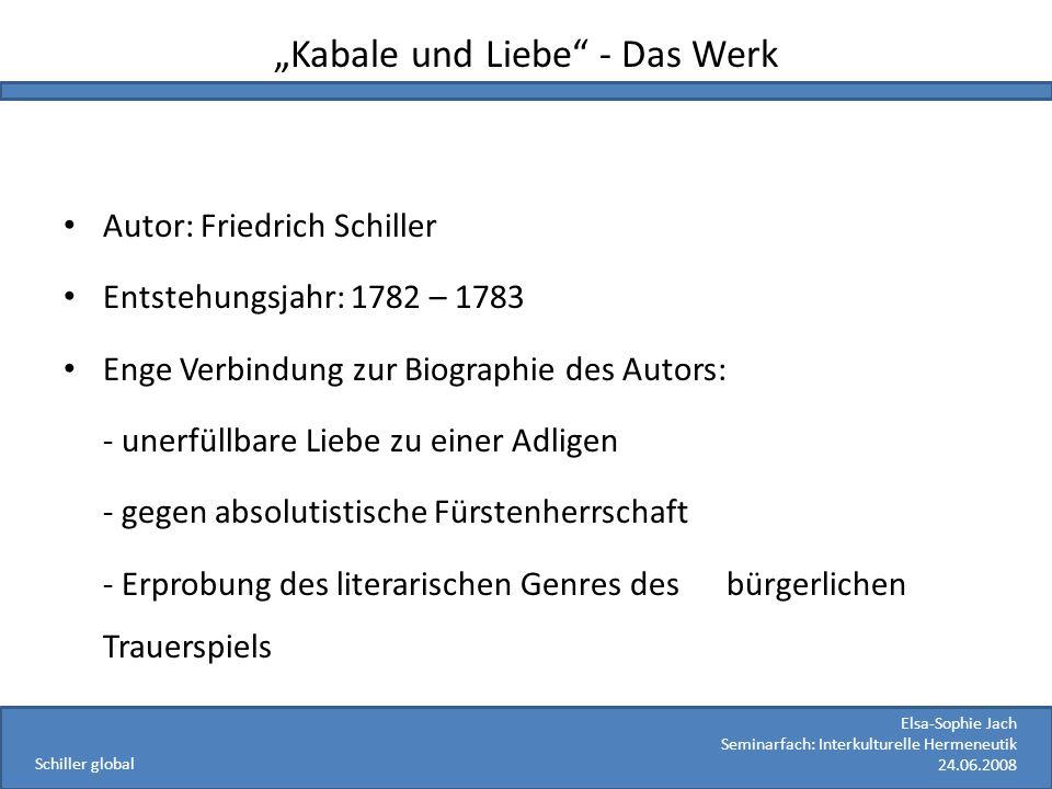 Elsa-Sophie Jach Seminarfach: Interkulturelle Hermeneutik 24.06.2008 Schiller global Kabale und Liebe - Das Werk Autor: Friedrich Schiller Entstehungs
