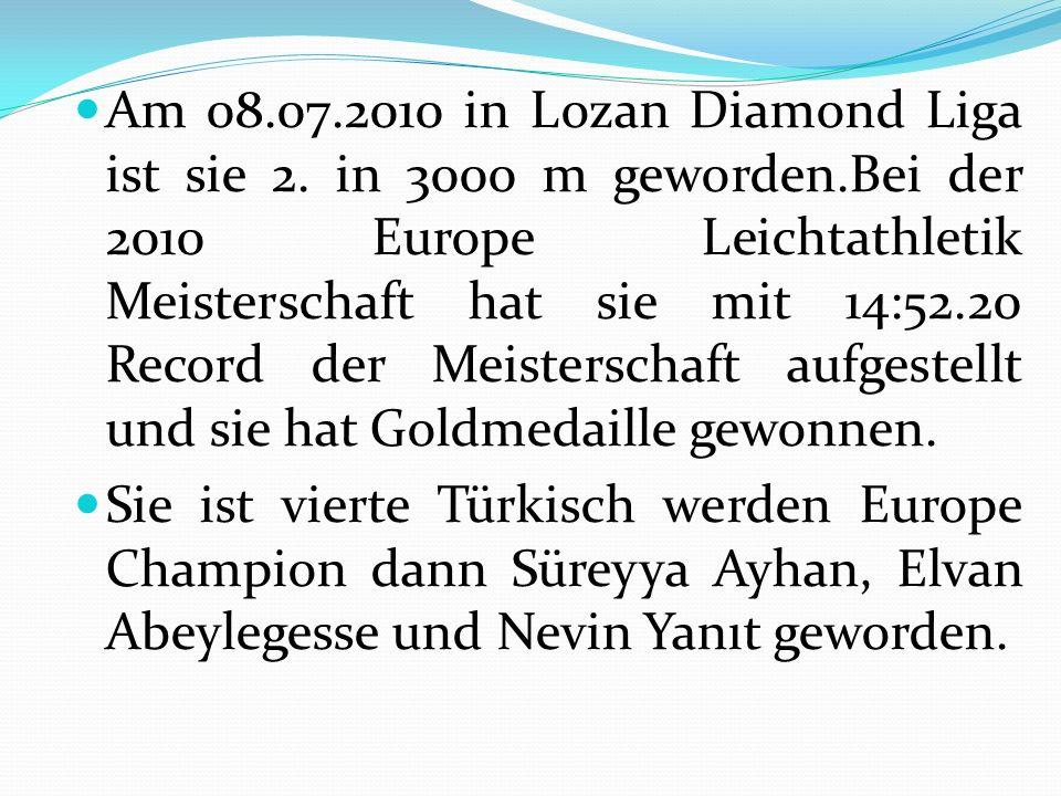 Am 08.07.2010 in Lozan Diamond Liga ist sie 2. in 3000 m geworden.Bei der 2010 Europe Leichtathletik Meisterschaft hat sie mit 14:52.20 Record der Mei