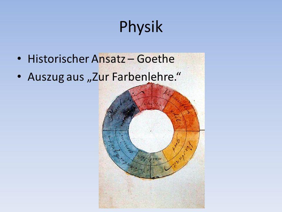 Physik Historischer Ansatz – Goethe Auszug aus Zur Farbenlehre.