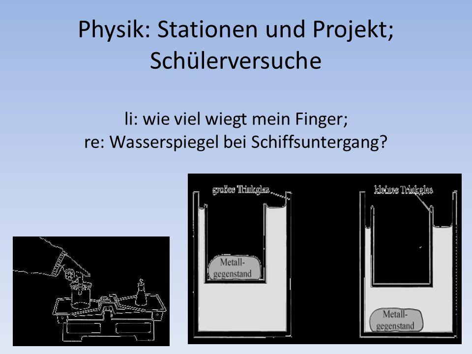 Physik: Stationen und Projekt; Schülerversuche li: wie viel wiegt mein Finger; re: Wasserspiegel bei Schiffsuntergang?