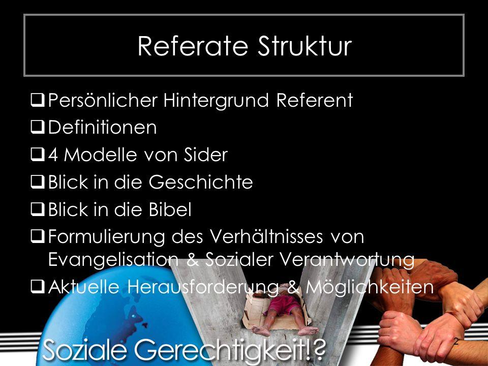2 Referate Struktur Persönlicher Hintergrund Referent Definitionen 4 Modelle von Sider Blick in die Geschichte Blick in die Bibel Formulierung des Ver