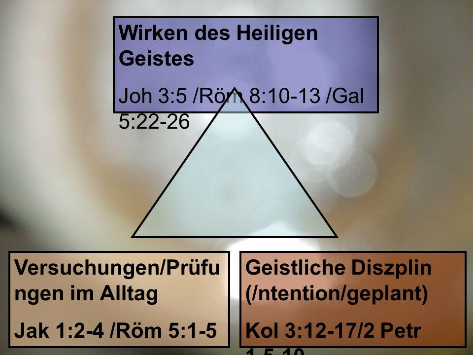 Wirken des Heiligen Geistes Joh 3:5 /Röm 8:10-13 /Gal 5:22-26 Versuchungen/Prüfu ngen im Alltag Jak 1:2-4 /Röm 5:1-5 Geistliche Diszplin (/ntention/geplant) Kol 3:12-17/2 Petr 1,5-10