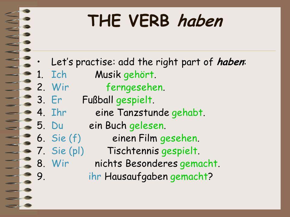 THE VERB sein Lets practice: add the right part of sein : 1.Ich einkaufen gegangen.