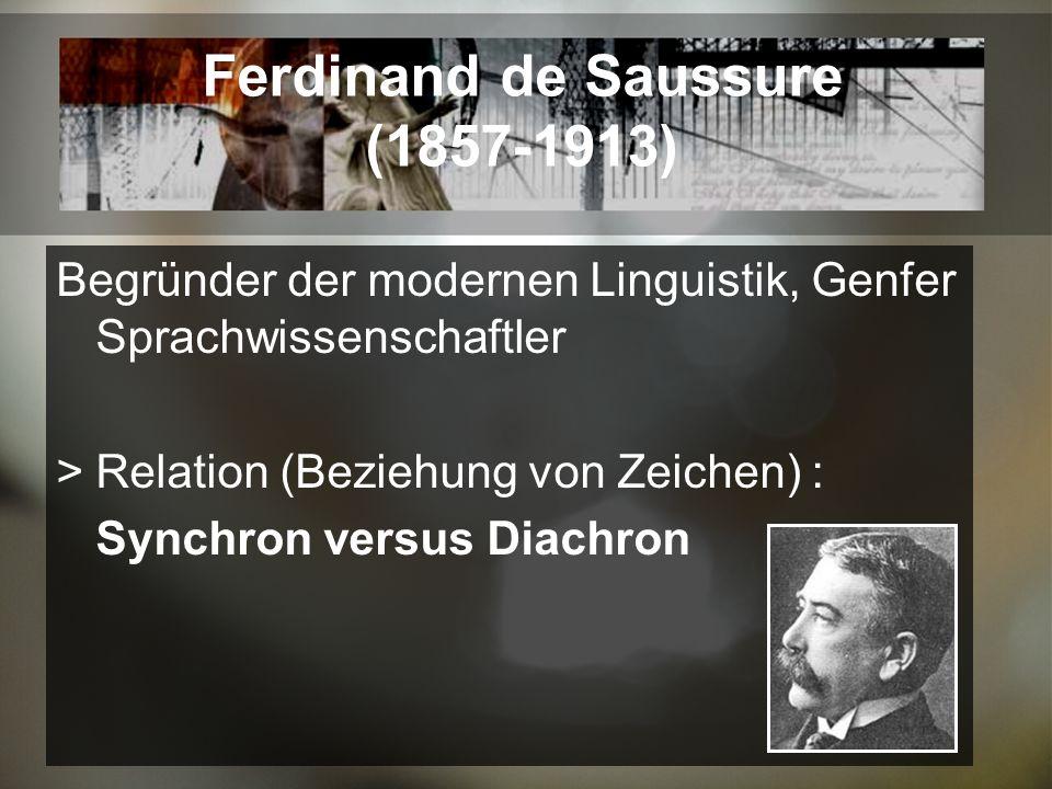 Ferdinand de Saussure (1857-1913) Begründer der modernen Linguistik, Genfer Sprachwissenschaftler Relation (Beziehung von Zeichen) : Synchron versus Diachron
