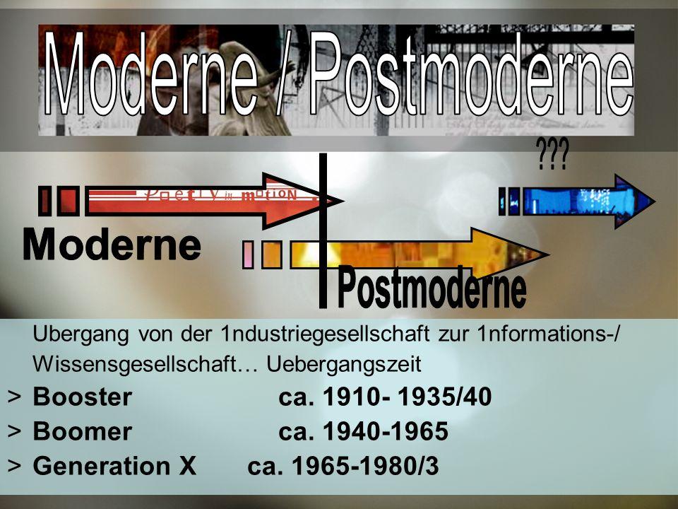Ubergang von der 1ndustriegesellschaft zur 1nformations-/ Wissensgesellschaft… Uebergangszeit Booster ca.