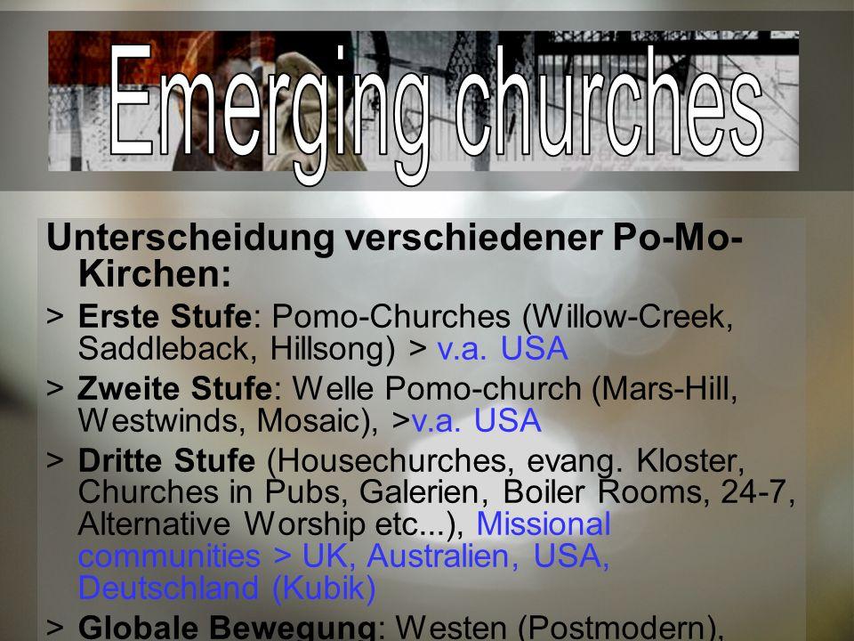 Unterscheidung verschiedener Po-Mo- Kirchen: Erste Stufe: Pomo-Churches (Willow-Creek, Saddleback, Hillsong) > v.a.