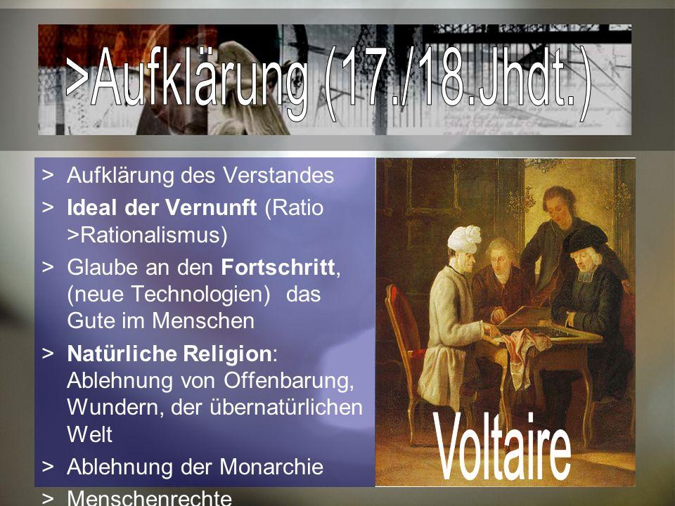 Aufklärung des Verstandes Ideal der Vernunft (Ratio >Rationalismus) Glaube an den Fortschritt, (neue Technologien) das Gute im Menschen Natürliche Religion: Ablehnung von Offenbarung, Wundern, der übernatürlichen Welt Ablehnung der Monarchie Menschenrechte