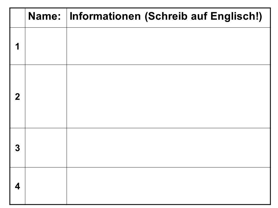 Name:Informationen (Schreib auf Englisch!) 1 2 3 4