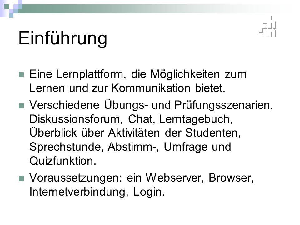 Einsatzmöglichkeiten Interaktive Lernaktivitäten (über Hinzufügen) Verbesserung der Kommunikation (Forum) Arbeitsergebnisse können von den Schülern eingereicht und von den Lehrern benotet werden (Aufgabe, Workshop) Automatische Benotung (Test) Erleichterte Schulorganisation http://www.fritz-karsen.de/moodle/ http://moodle.de/