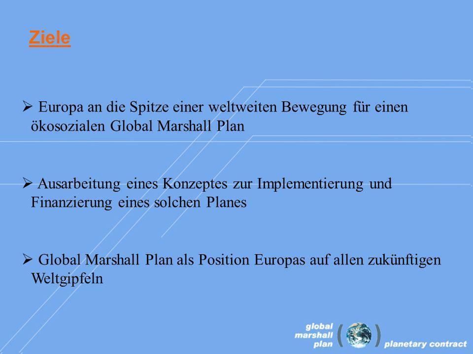 Ziele Europa an die Spitze einer weltweiten Bewegung für einen ökosozialen Global Marshall Plan Ausarbeitung eines Konzeptes zur Implementierung und Finanzierung eines solchen Planes Global Marshall Plan als Position Europas auf allen zukünftigen Weltgipfeln