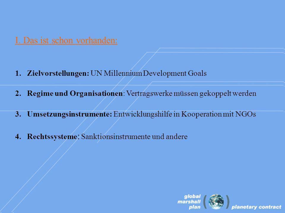 I. Das ist schon vorhanden: 1. Zielvorstellungen: UN Millennium Development Goals 2.