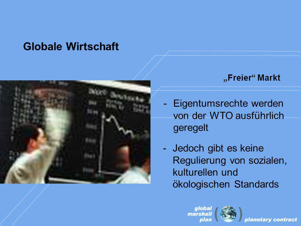 Globale Wirtschaft Freier Markt -Eigentumsrechte werden von der WTO ausführlich geregelt -Jedoch gibt es keine Regulierung von sozialen, kulturellen und ökologischen Standards