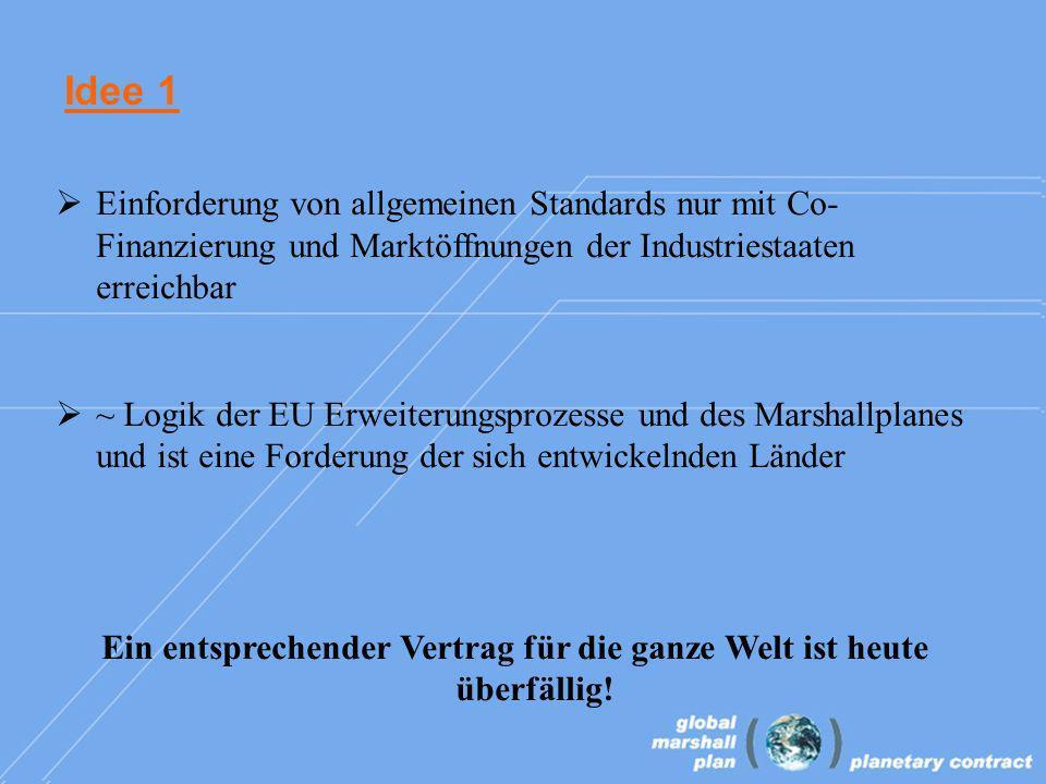 Idee 1 Einforderung von allgemeinen Standards nur mit Co- Finanzierung und Marktöffnungen der Industriestaaten erreichbar ~ Logik der EU Erweiterungsprozesse und des Marshallplanes und ist eine Forderung der sich entwickelnden Länder Ein entsprechender Vertrag für die ganze Welt ist heute überfällig!