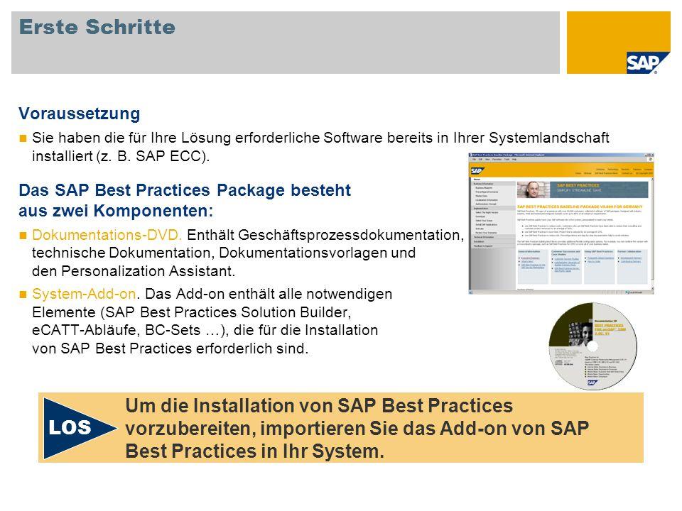 Erste Schritte Voraussetzung Sie haben die für Ihre Lösung erforderliche Software bereits in Ihrer Systemlandschaft installiert (z. B. SAP ECC). Das S