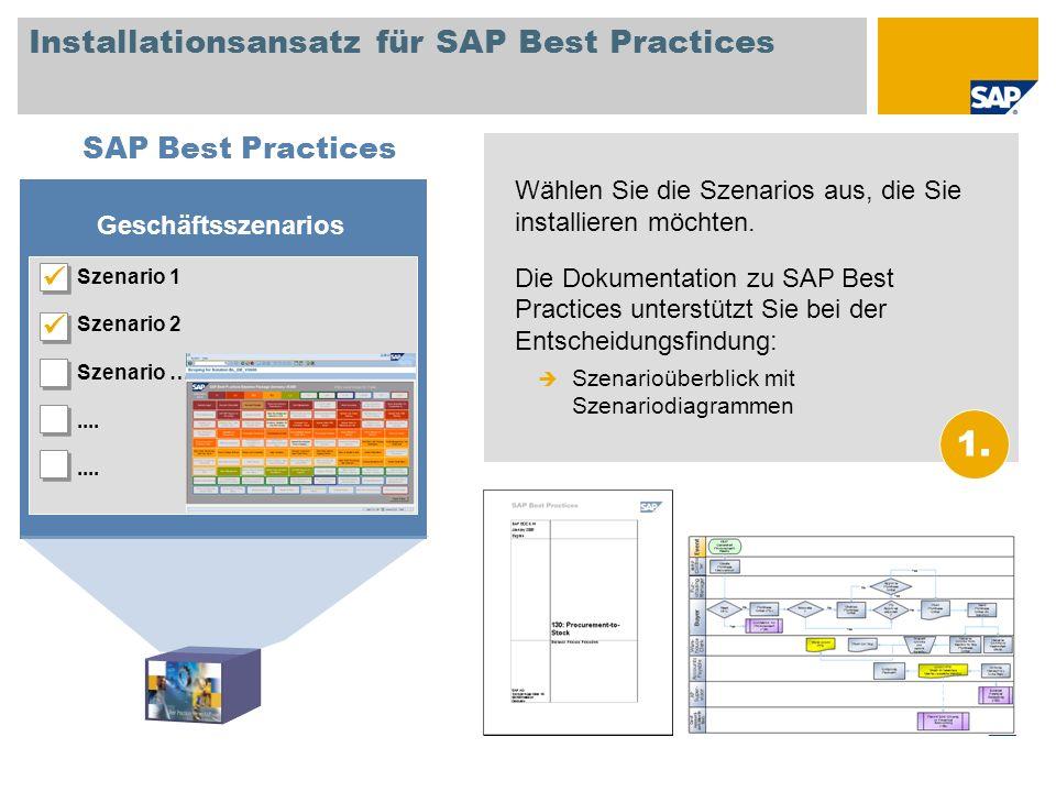 Installationsansatz für SAP Best Practices Wählen Sie die Szenarios aus, die Sie installieren möchten. Die Dokumentation zu SAP Best Practices unterst