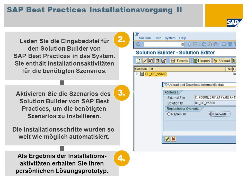 SAP Best Practices Installationsvorgang II Aktivieren Sie die Szenarios des Solution Builder von SAP Best Practices, um die benötigten Szenarios zu in
