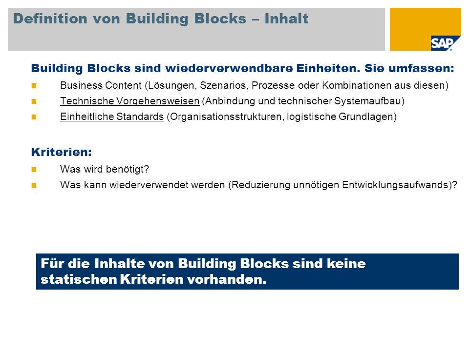 Definition von Building Blocks – Inhalt Building Blocks sind wiederverwendbare Einheiten. Sie umfassen: Business Content (Lösungen, Szenarios, Prozess