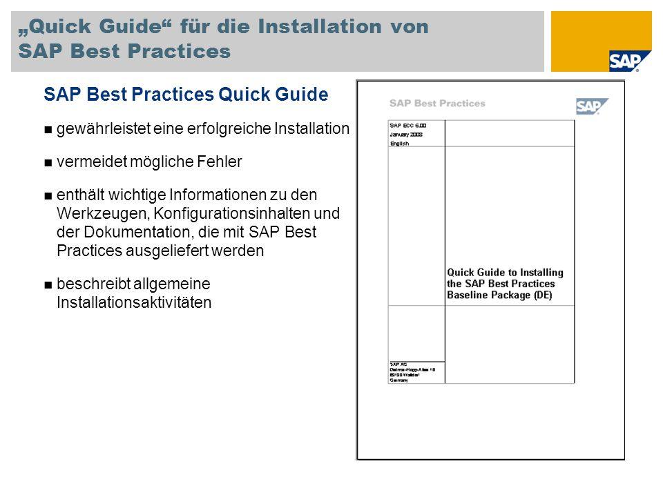 Quick Guide für die Installation von SAP Best Practices SAP Best Practices Quick Guide gewährleistet eine erfolgreiche Installation vermeidet mögliche