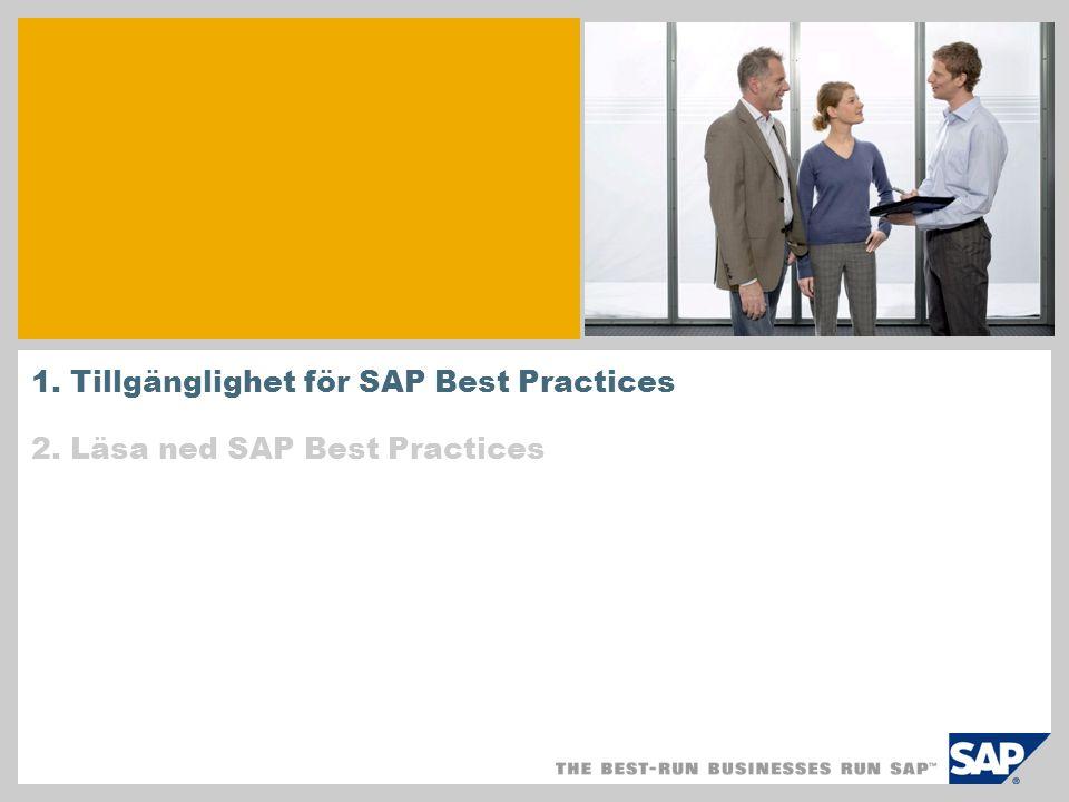 1. Tillgänglighet för SAP Best Practices 2. Läsa ned SAP Best Practices
