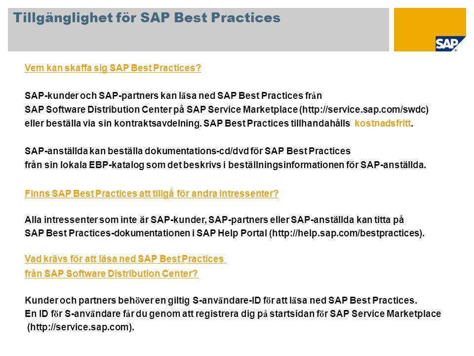 Vem kan skaffa sig SAP Best Practices? SAP-kunder och SAP-partners kan l ä sa ned SAP Best Practices fr å n SAP Software Distribution Center på SAP Se
