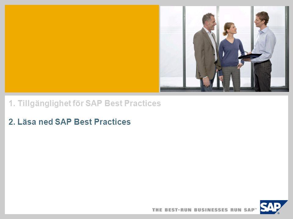 Vad innehåller ett SAP Best Practices-paket.