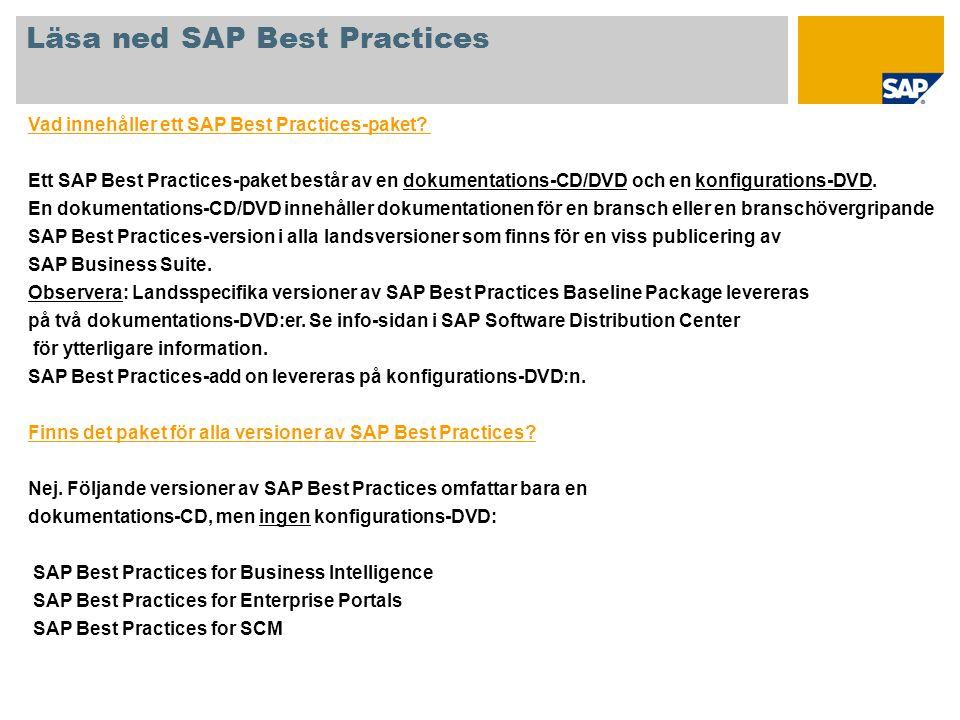 Vad innehåller ett SAP Best Practices-paket? Ett SAP Best Practices-paket består av en dokumentations-CD/DVD och en konfigurations-DVD. En dokumentati