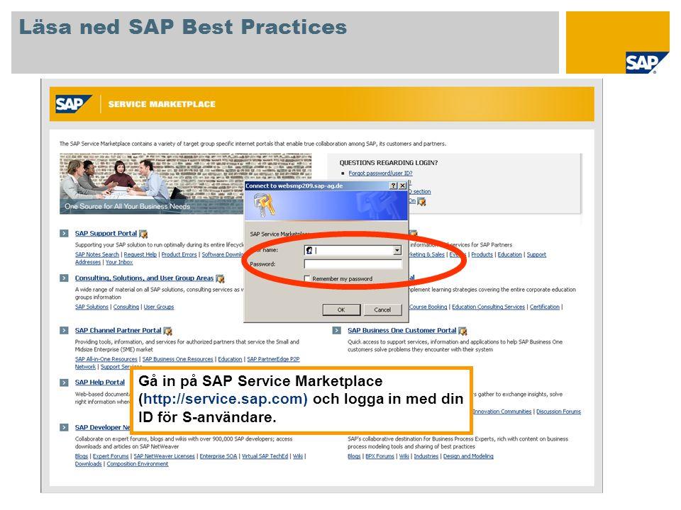 Gå in på SAP Service Marketplace (http://service.sap.com) och logga in med din ID för S-användare. Läsa ned SAP Best Practices