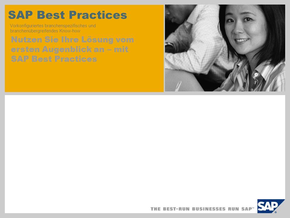 SAP Best Practices Vorkonfiguriertes branchenspezifisches und branchenübergreifendes Know-how Nutzen Sie Ihre Lösung vom ersten Augenblick an – mit SA