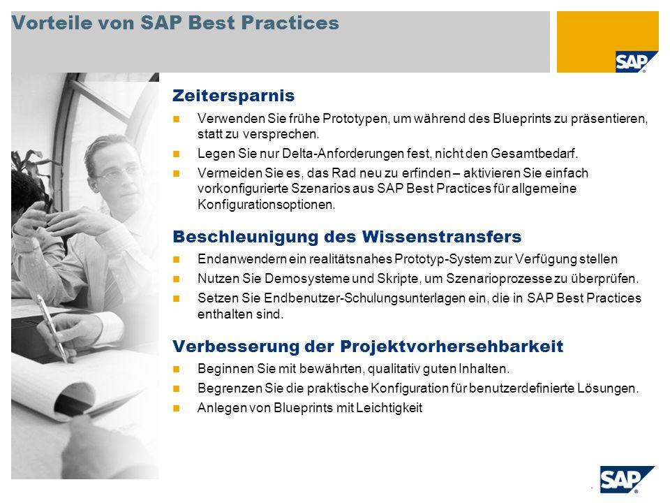 Vorteile von SAP Best Practices Zeitersparnis Verwenden Sie frühe Prototypen, um während des Blueprints zu präsentieren, statt zu versprechen. Legen S