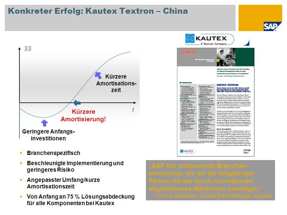 Konkreter Erfolg: Kautex Textron – China SAP hat umfassende Branchen- kenntnisse, die wir als langjähriger Partner für ein durch Innovationen angetrie