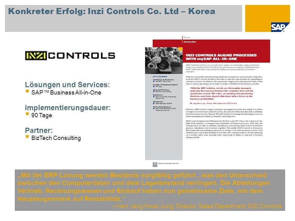 Konkreter Erfolg: Inzi Controls Co. Ltd – Korea Mit der ERP-Lösung werden Bestände sorgfältig geführt, was den Unterschied zwischen den Computerdaten