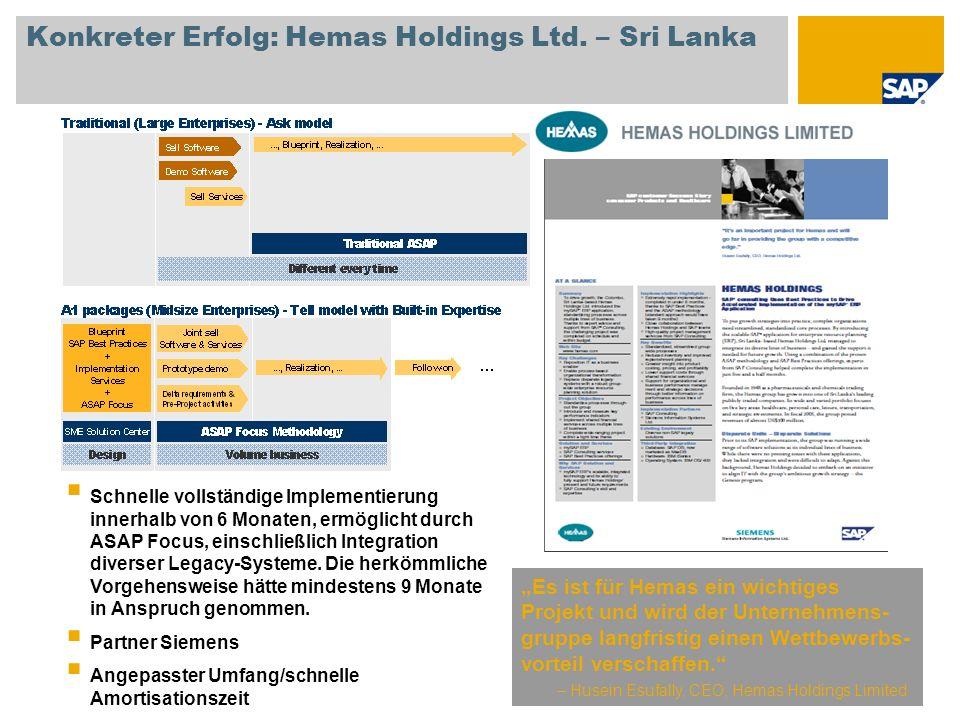Konkreter Erfolg: Hemas Holdings Ltd. – Sri Lanka Es ist für Hemas ein wichtiges Projekt und wird der Unternehmens- gruppe langfristig einen Wettbewer