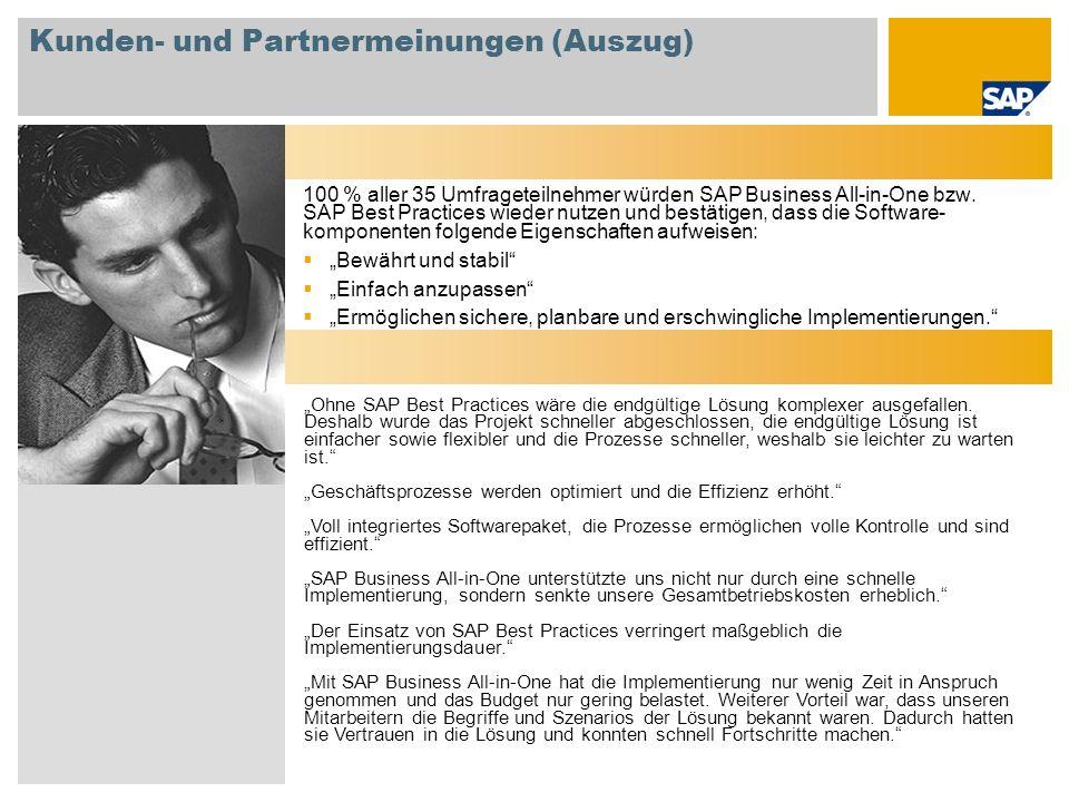 Kunden- und Partnermeinungen (Auszug) 100 % aller 35 Umfrageteilnehmer würden SAP Business All-in-One bzw. SAP Best Practices wieder nutzen und bestät