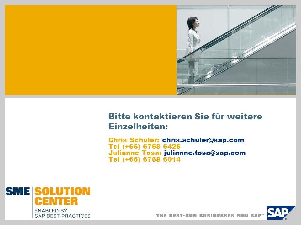 Chris Schuler: chris.schuler@sap.comchris.schuler@sap.com Tel (+65) 6768 6426 Julianne Tosa: julianne.tosa@sap.comjulianne.tosa@sap.com Tel (+65) 6768