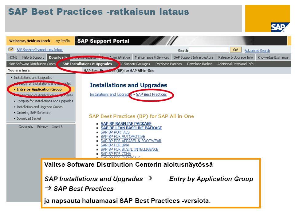 Valitse Software Distribution Centerin aloitusnäytössä SAP Installations and Upgrades Entry by Application Group SAP Best Practices ja napsauta haluam