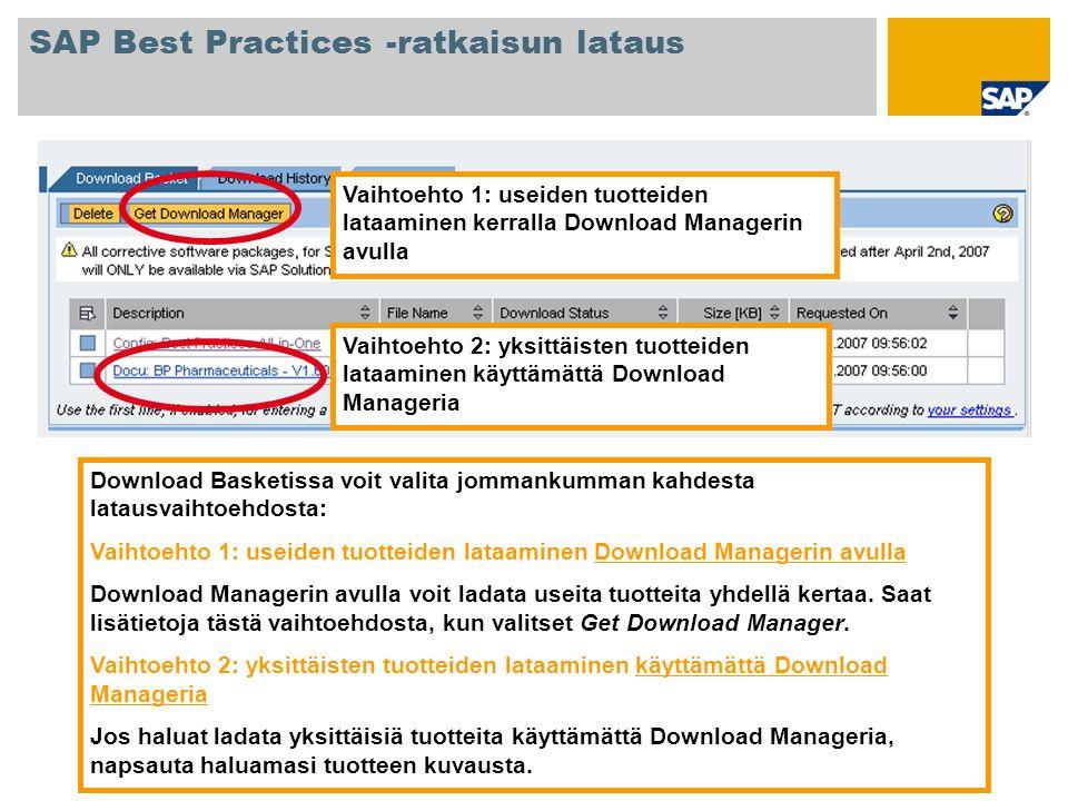 Download Basketissa voit valita jommankumman kahdesta latausvaihtoehdosta: Vaihtoehto 1: useiden tuotteiden lataaminen Download Managerin avulla Downl