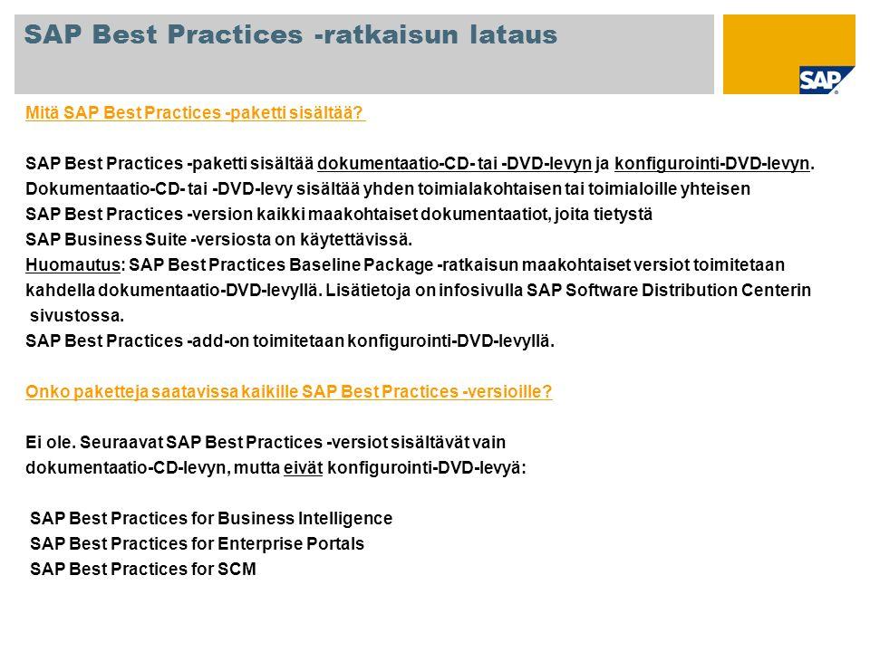 Mitä SAP Best Practices -paketti sisältää? SAP Best Practices -paketti sisältää dokumentaatio-CD- tai -DVD-levyn ja konfigurointi-DVD-levyn. Dokumenta