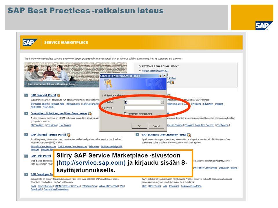 Siirry SAP Service Marketplace -sivustoon (http://service.sap.com) ja kirjaudu sisään S- käyttäjätunnuksella. SAP Best Practices -ratkaisun lataus