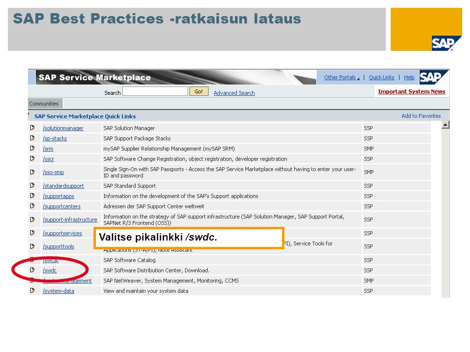 Valitse Software Distribution Centerin aloitusnäytössä SAP Installations and Upgrades Entry by Application Group SAP Best Practices ja napsauta haluamaasi SAP Best Practices -versiota.