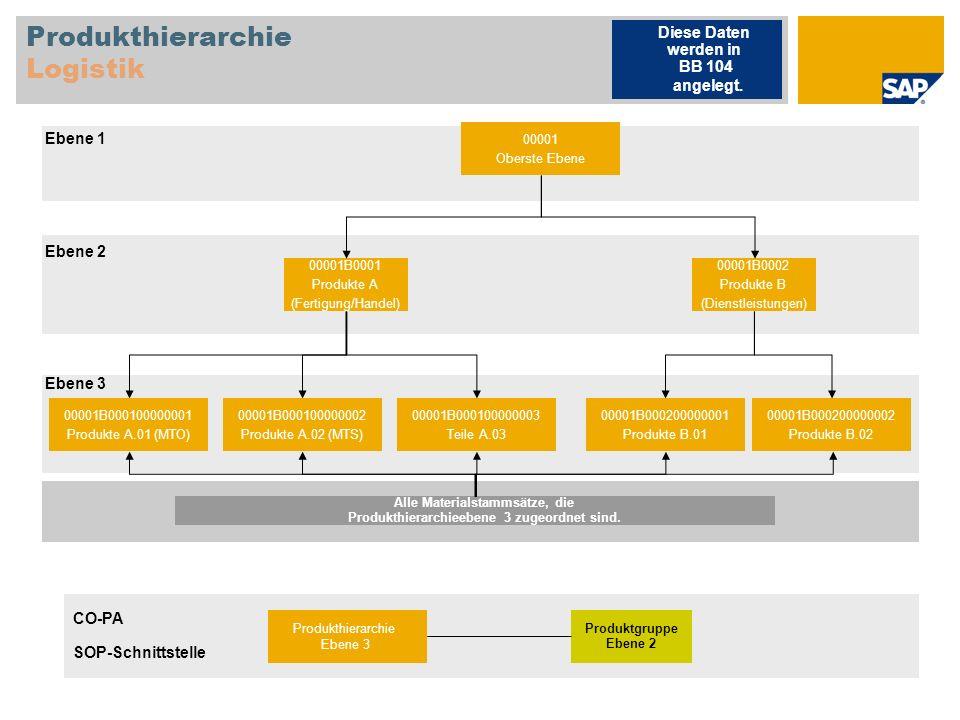Produkthierarchie Logistik 00001 Oberste Ebene 00001B0001 Produkte A (Fertigung/Handel) 00001B0002 Produkte B (Dienstleistungen) 00001B000100000001 Pr