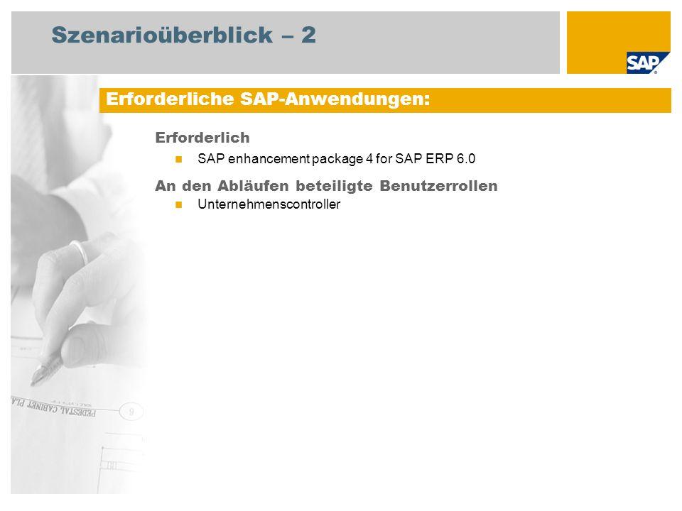 Szenarioüberblick – 2 Erforderlich SAP enhancement package 4 for SAP ERP 6.0 An den Abläufen beteiligte Benutzerrollen Unternehmenscontroller Erforder