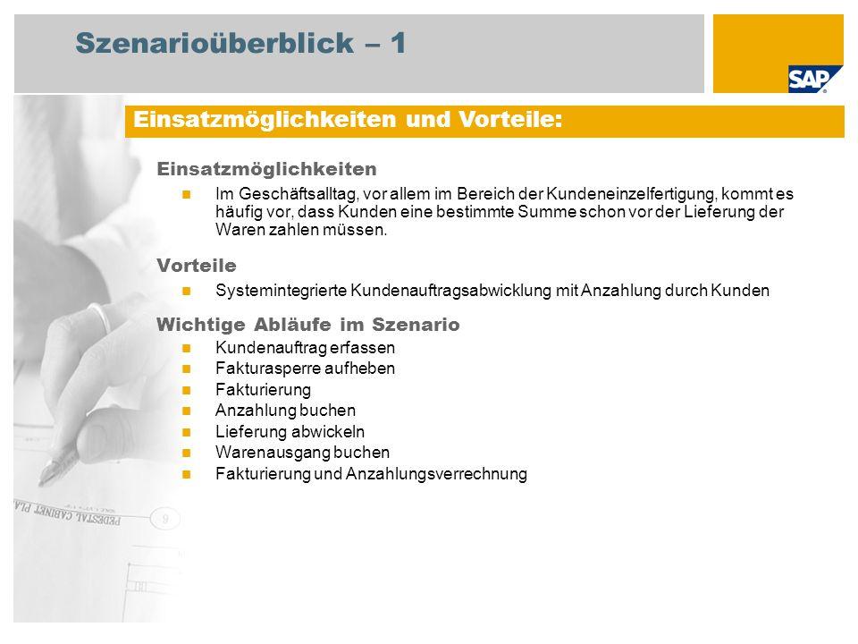 Szenarioüberblick – 2 Erforderlich SAP EHP3 for SAP ERP 6.0 EhP3 An den Abläufen beteiligte Benutzerrollen Vertriebsachbearbeiter Lagermitarbeiter Sachbearbeiter Fakturierung Debitorenbuchhalter Erforderliche SAP-Anwendungen: