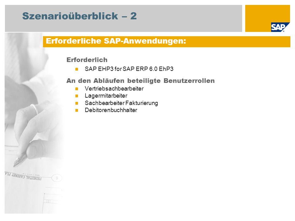 Szenarioüberblick – 2 Erforderlich SAP EHP3 for SAP ERP 6.0 EhP3 An den Abläufen beteiligte Benutzerrollen Vertriebsachbearbeiter Lagermitarbeiter Sac