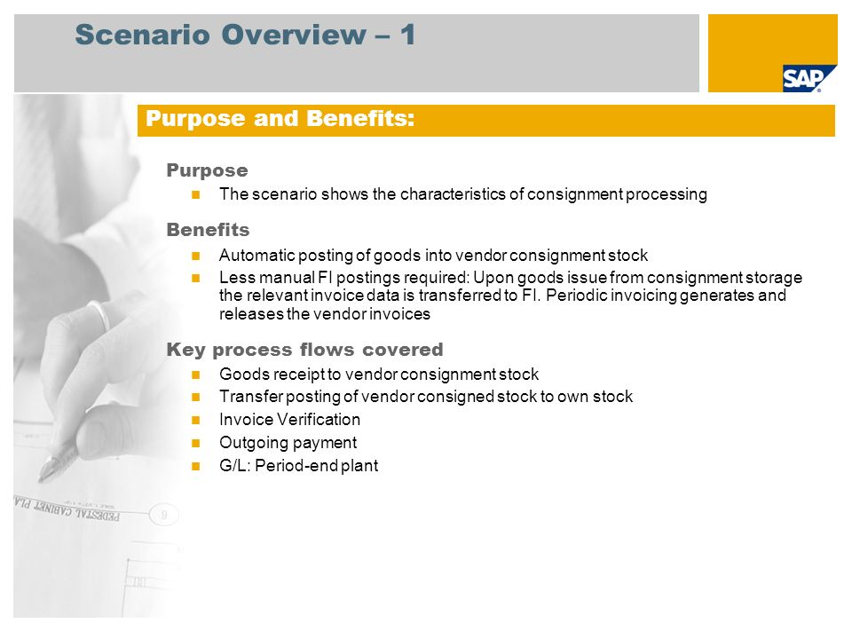 Scenario Overview – 2 Required SAP enhancement package 4 for SAP ERP 6.0 Company roles involved in process flows Production Planner Warehouse Clerk Accounts Payable Accountant SAP Applications Required: